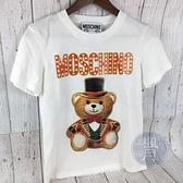 BRAND楓月 MOSCHINO 熊白T T恤 LOGO 微笑熊熊 禮帽領結 魔術 棉質 短袖 圓領 棉質 休閒T