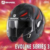 [中壢安信]法國SHARK EVOLINE SERIES 3 彩會 SHAZER 消光黑紅銀 可樂帽 全罩 可掀 安全帽