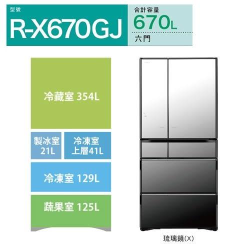 HITACHI日立670L六門琉璃變頻冰箱 RX670GJ/X琉璃鏡
