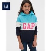 Gap女童圓頭套頭休閒上衣連帽衫527651-藍色
