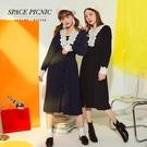 長袖 洋裝 Space Picnic|蕾絲拼接排釦縮腰長袖洋裝(現貨)【C19123049】