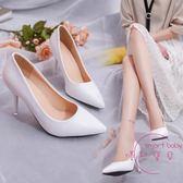 春夏季尖頭時尚細高跟潮流女式正韓純色套腳女式單鞋