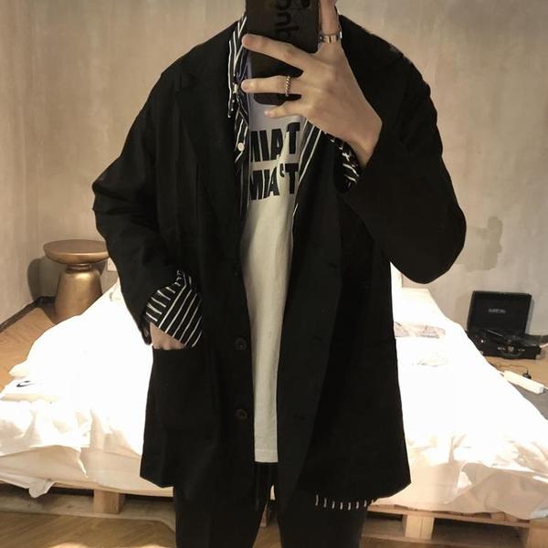 休閒西裝外套 早春新品復古純黑西裝男 時髦西服體閒外套薄款男