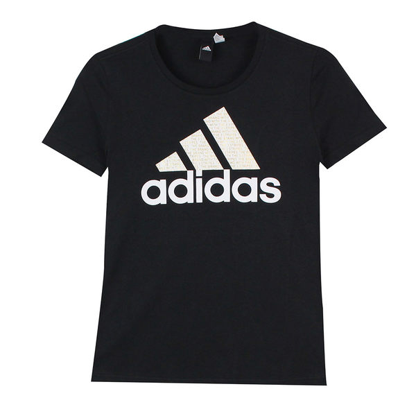 Adidas 女 FOIL TEXT BOS 愛迪達 圓領T(短)- CV4561