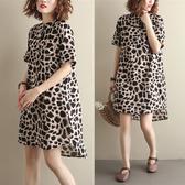 大尺碼洋裝 豹紋洋裝 2019夏季新款洋氣大碼寬鬆顯瘦立領豹紋襯衣裙中長款棉麻連身裙女