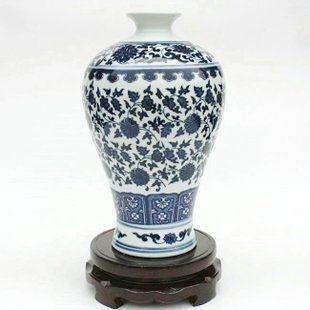 陶瓷 瓷器青花瓷手繪寶貴連藤梅瓶 擺件 裝飾