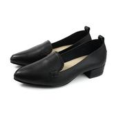 HUMAN PEACE 休閒鞋 尖頭 粗低跟 黑色 荔枝紋 女鞋 PW1284A no656