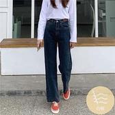復古高腰闊腿牛仔褲女直筒顯瘦寬松小個子褲子【毒家貨源】