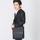 手提包 金安德森 都會暖男 商務型直式掀蓋斜側包-灰黑