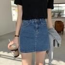 包臀短裙 簡約牛仔半身裙女2021春韓版小個子高腰A字包臀短裙 16育心館