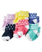 【美國Carter's】防滑嬰兒襪六雙組 - 馬卡龍彩色點點系列 GB12937