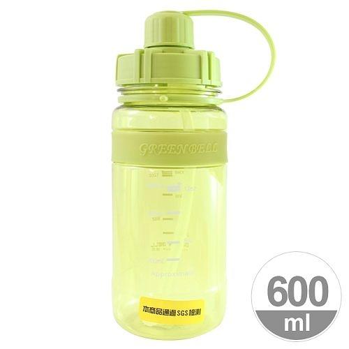 A0809【Everyday】矽膠止滑彈跳太空壺(附背帶)600ml-綠色