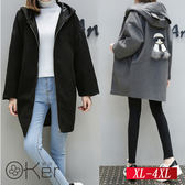 秋冬季加厚寬鬆夾棉毛呢外套 XL-4XL O-Ker歐珂兒 157818-C