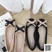 平底鞋 方頭平底鞋女新款甜美溫柔鞋蝴蝶結學生軟底淺口單鞋果凍鞋秋 阿薩布魯