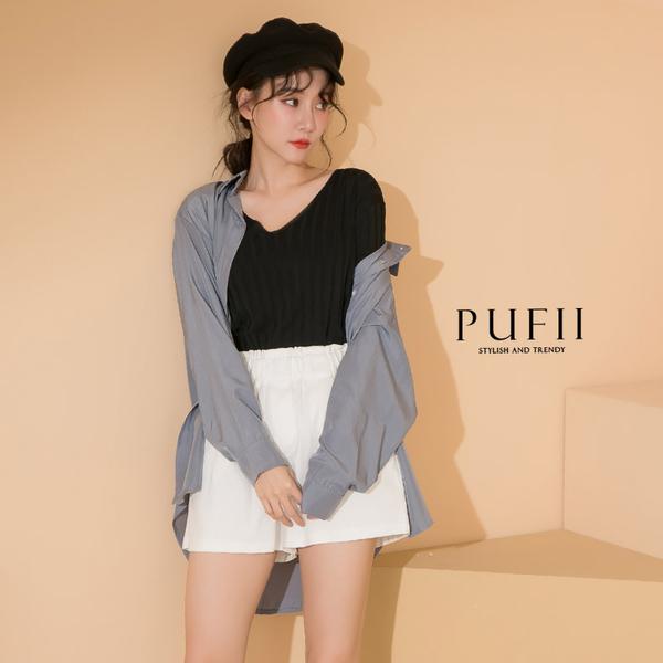 限量現貨◆PUFII-上衣 彈性修飾坑條V領上衣- 0429 現+預 春【CP18461】