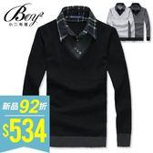 韓式型男假二件針織衫【NZ76702】