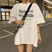 EASON SHOP(GW6546)韓版撞色字母印花長版OVERSIZE薄款圓領短袖T恤裙女上衣服落肩寬鬆內搭衫素色棉T