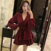 夜場裙子女春季2019新款顯瘦氣質名媛夜店女裝收腰V領性感連身裙