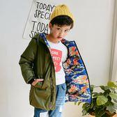 【春季上新】 兒童中長款羽絨服男童2019新款韓版洋氣中大童兩面穿迷彩加厚外套