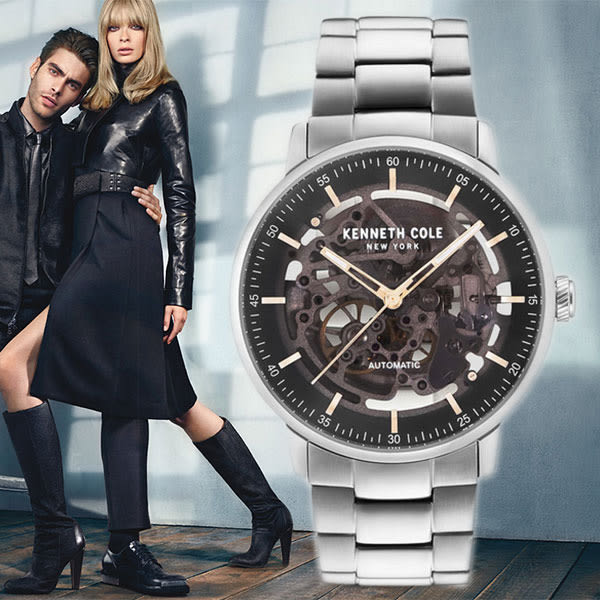 Kenneth Cole 香檳灰面玫瑰金刻度鏤空鋼帶機械錶x42mm KC15104004・公司貨|名人鐘錶高雄門市