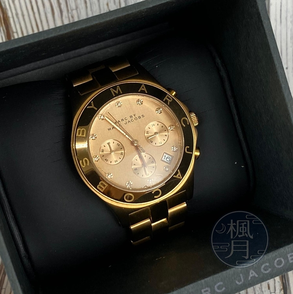 BRAND楓月 MARC BY MARC JACOBS MJ MBM3102 金色 三眼錶 石英錶 女錶