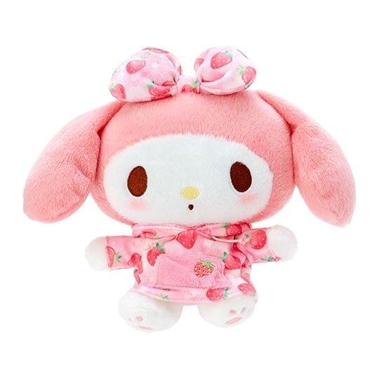 小禮堂 美樂蒂 絨毛 玩偶 娃娃 布偶 (S 粉白 草莓帽T) 4548643-14623
