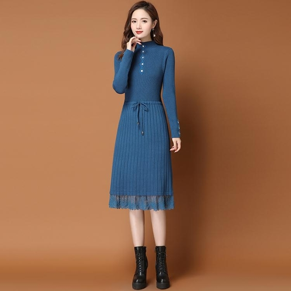 快速出貨 加厚內搭針織洋裝女秋冬季新款加絨中長款過膝打底衫毛衣裙