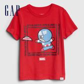Gap男幼Gap x Marvel 漫威系列棉質舒適圓領短袖T恤551237-正紅色