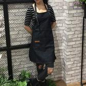 圍裙現貨 牛仔圍裙咖啡師美甲奶茶餐廳家居男女廚房韓版時尚工作服定製 1色