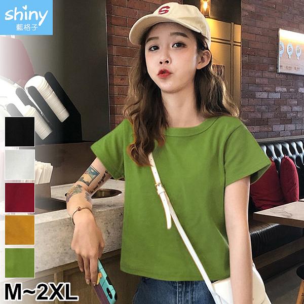 【V9190】shiny藍格子-夏季基初.時尚百搭純色短版短袖T恤上衣