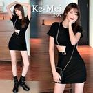 克妹Ke-Mei【AT65337】JELLY黑色露腰心機鑽鍊垂墜龐克洋裝