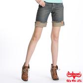 BOBSON 女款反摺牛仔短褲(復古藍132-53)