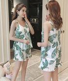 睡衣女春夏季短袖純棉吊帶兩件套裝韓版寬鬆