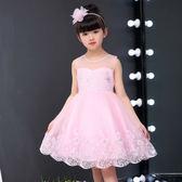 女童禮服 夏季純棉韓版蓬蓬紗花童禮服女春夏蕾絲兒童洋裝LJ10227『黑色妹妹』