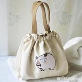 日式飯盒袋束口帆布便當袋飯盒包便當包手提包飯盒袋子可愛上班族 青木鋪子