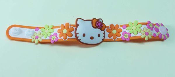 【震撼精品百貨】Hello Kitty 凱蒂貓~手環/手鍊-橡膠材質-橘花造型