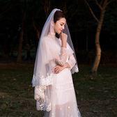 新娘頭紗韓式蕾絲頭紗短款簡約唯美白色2018新款結婚婚紗超長頭紗第七公社