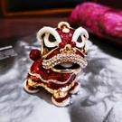 中國風水晶鑲鉆獅子舞獅醒獅子鑰匙扣汽車鑰匙鏈包包掛件男女情侶