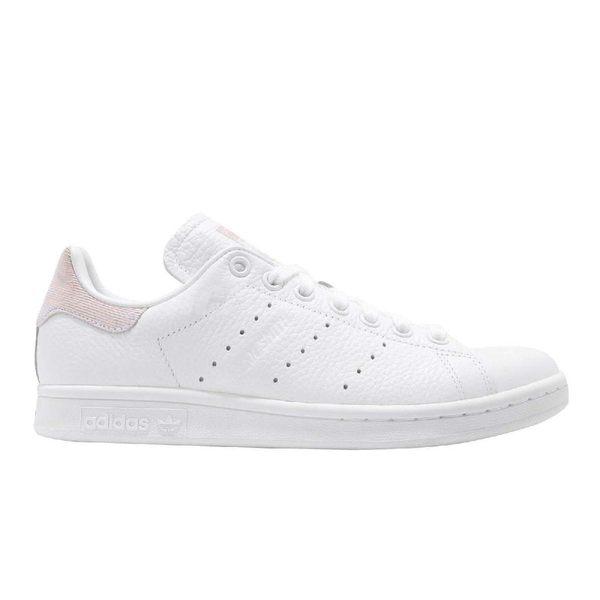 adidas 休閒鞋 Stan Smith W 白 粉紅 皮革 基本款 後跟特殊材質設計 百搭熱銷款 女鞋【PUMP306】 B41625