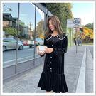連身裙 優雅珍珠拼接長袖洋裝PT9152-創翊韓都