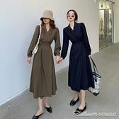 洋裝復古法式長袖洋裝女秋裝新款西裝裙春秋顯瘦氣質炸街裙子 阿卡娜