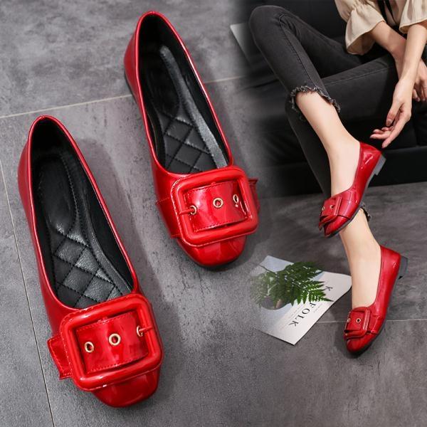紅色淺口平底單鞋孕婦鞋低跟低筒皮帶扣工作鞋年夏季新款女鞋