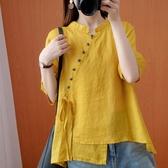 文藝復古短袖苧麻上衣女夏寬松薄款森系棉麻娃娃衫中國風亞麻襯衫