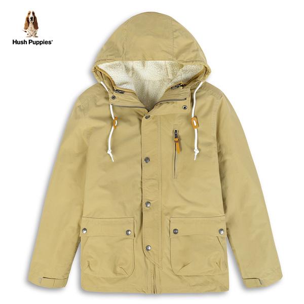 Hush Puppies 外套 男裝可拆兩件式保暖羔羊毛連帽外套