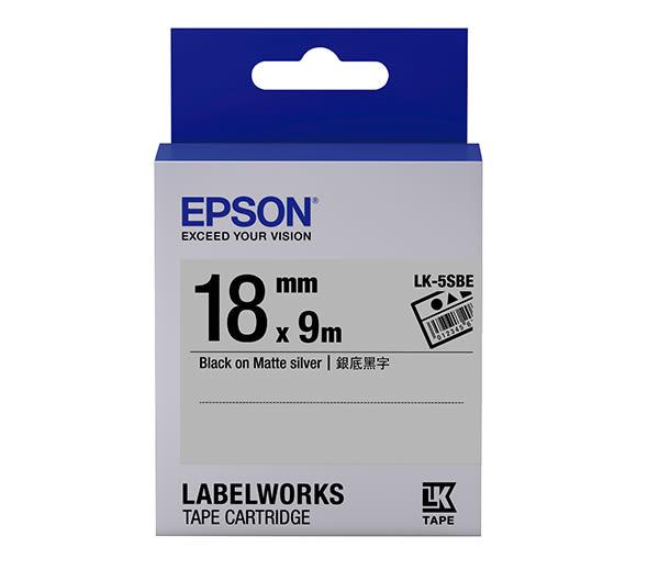 [哈GAME族]免運費 可刷卡 EPSON LK-5SBE 標籤機色帶 標籤帶 銀底黑字 18mm