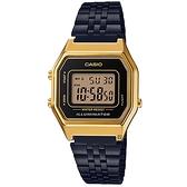 CASIO 卡西歐 復古方形計時電子錶-黑x金 LA680WEGB-1A