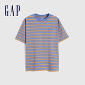 Gap男童 厚磅密織系列碳素軟磨 純棉短袖T恤 755463-藍色條紋