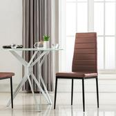 E-home Mano曼諾經典高背餐椅 三色可選棕色