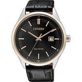 【送米奇電扇】CITIZEN Eco-Drive 光動能大三針腕錶-黑x玫瑰金圈/41mm BM7254-12E