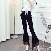 休閒褲女夏季新款時尚氣質高腰垂感修身顯瘦雪紡拼接喇叭褲潮